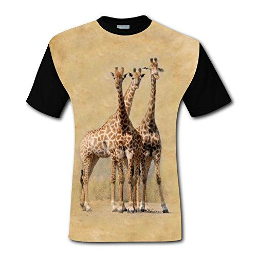 LZQ Tshirt Man Short Sleeve New Awesome T-Shirts 3D Creating With South Africa Hluhluwe Giraffes For Men XXL