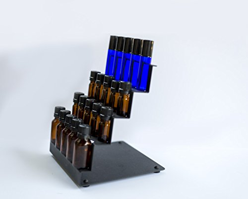 - Essential Oil Counter Storage Rack for Organizing and Storing Oils - Holds 20 bottles - Stores 5 ml to 15 ml and Rollerball Bottles - Standing Display Rack for Home and Office (Black)