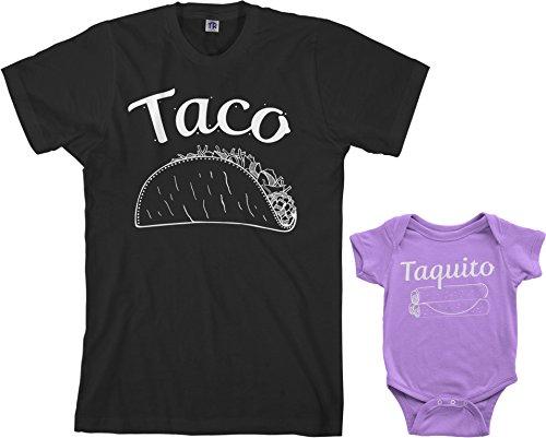 T-shirts Onesies - Threadrock Taco & Taquito Infant Bodysuit & Men's T-Shirt Matching Set (Baby: 6M, Lavender Men's: XL, Black)