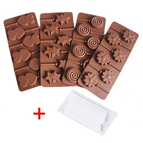 4-Pack Lollipop Silicone Mold Set - MoldFun Star Heart Spiral Daisy Flower Silicone Lolly Pop Tray for Hard Candy Chocolate Gummy Suckers
