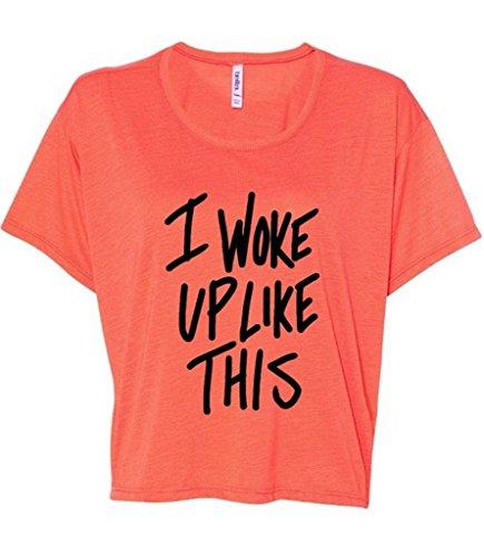 Awkwardstyles I Woke Up Like This Boxy Crewneck Flowy Tank Top Black Logo Shirts M Orange