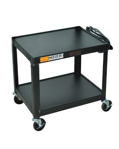 Luxor Multipurpose W26E 2 Shelves Fixed Height Steel A/V Cart - 26