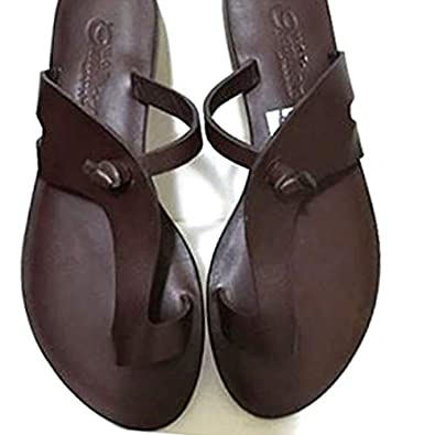 1430ef2b2 Ofidy African Brown Pam Slippers (Leather)