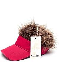 d07b82c28a350 Flair Hair Visor Sun Cap Wig Peaked Adjustable Baseball Hat with Spiked  Hairs