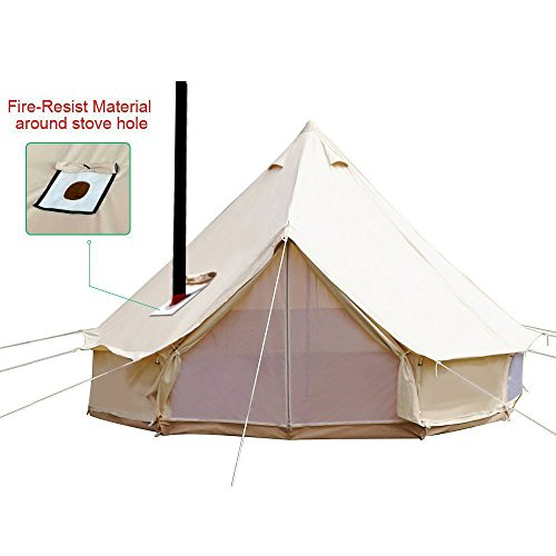 Playdo 4-Season Waterproof Cotton Canvas Large Family Camp Bell Tent Hunting Wall Tent with Roof Stove Jack Hole for Camping Hiking Party, Beige Color (5M/16.4FT)