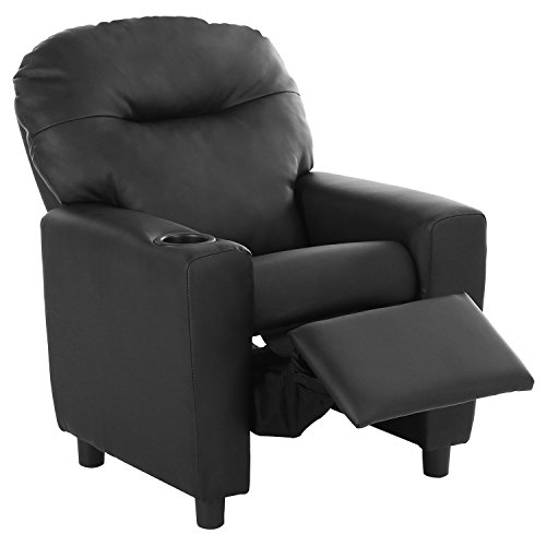 Harper&Bright Designs Kids Recliner with Cup Holder PU Leather Sofa Chair for Child (Black) (Design Black Leather Sofa)
