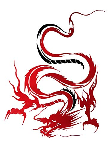 Fochutech 1pc Car Auto Body Sticker Engine Hood Cool Dragon Self-Adhesive Side Truck Vinyl Graphics Decals Motorcycle (Red) (Graphics Vinyl Motorcycle)