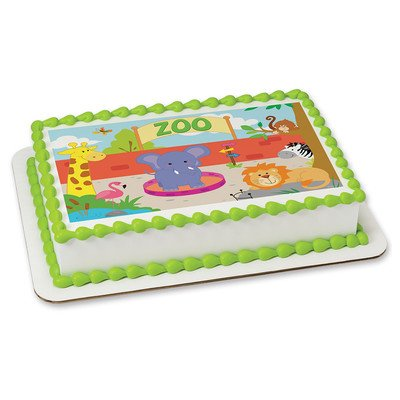 Zoo Animals Edible Frosting Sheet Cake Topper - Licensed - 1/4 Sheet