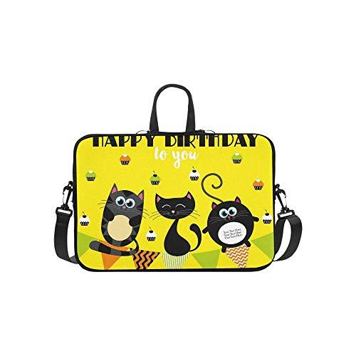Cute Creative Cards Templates Happy Birthday Briefcase Laptop Bag Messenger Shoulder Work Bag Crossbody Handbag for Business Travelling