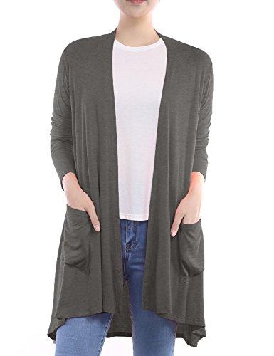 BIADANI Women Long Sleeve Classic Lightweight Front Pockets Cardigan Charcoal XX-Large
