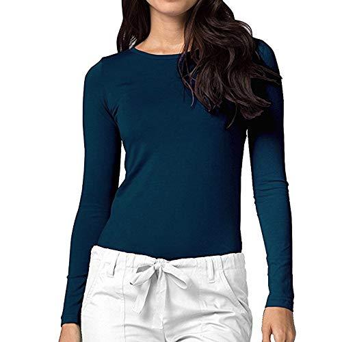 haoricu Womens Basic Top Comfort Long Sleeve Bottom Solid Slim Casual Shirt Tee Blouse Navy -