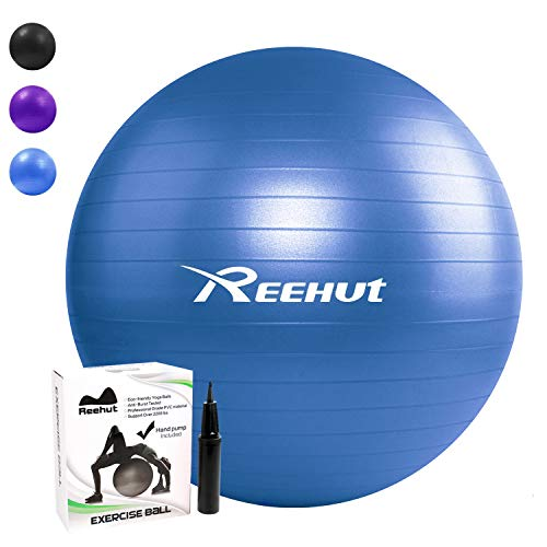 REEHUT Anti-Burst Core Exercise Ball w/Pump & Manual for Yoga, Workout, Fitness (Blue, 55cm)