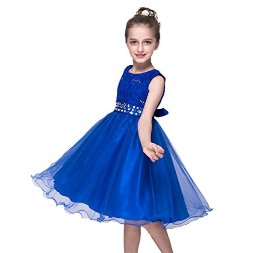DreamHigh Sequined Flower Girls Party Pegant Dress (6, Royal Blue) -