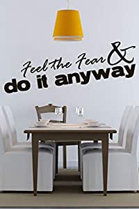 Walliv Decals Feel The Fear & Do It Anyway Quote Wall Sticker Decal Wall Quotes [wq0782]