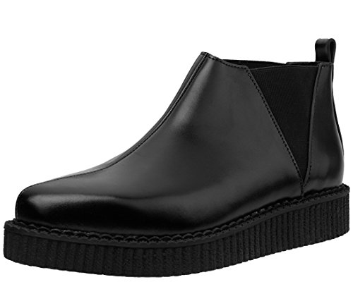 (T.U.K. A9177 Unisex Black Leather Pull on Pointed Platform Chelsea Creeper Ankle Boot)