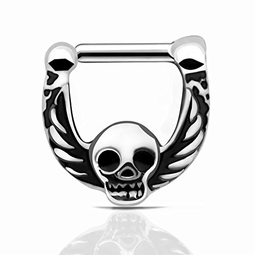 D&M Jewelry 1pc 316L Stainless Steel Skull Wings Septum Clicker Nose Ring Gauge 16g - Skull Septum Ring
