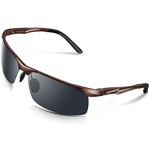 Torege Men's Sports Style Polarized Sunglasses For Cycling Running Fishing Driving Golf Unbreakable Al-Mg Metal Frame Glasses M294 (Brown&Black Tips&Grey - Running Good Sunglasses