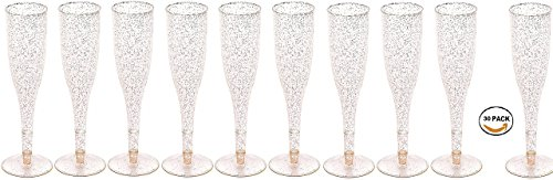 30pc Clear Plastic With Gold Glitter Classicware Glass Like Champagne Wedding Parties Toasting Flutes
