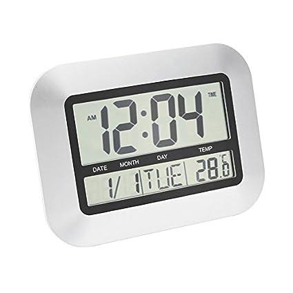 Swiftswan Reloj de pared digital, relojes de escritorio pilas Reloj despertador LCD grande y sencillo