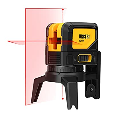 URCERI 9211R 65 Feet Laser Level Self-Leveling Horizontal, Vertical Cross-Line and Plumb Dot - Laser Magnetic Mount Base and Carry Pouch, Battery Included