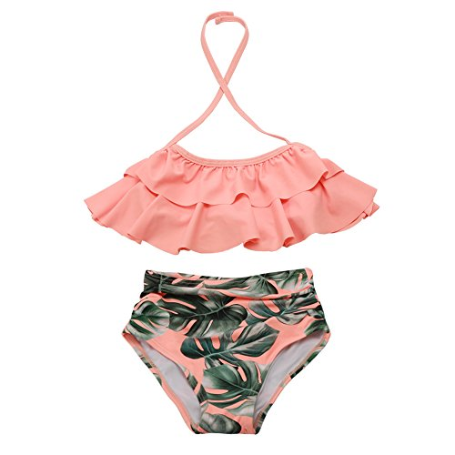 Girls Swimsuit Falbala High Waisted Bikini Set Halter Neck Swimwear Dots Printing Bathing Suits by XUNYU
