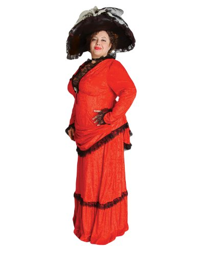 Deluxe Plus Size Victorian Lady Theatrical Quality Costume, Red -
