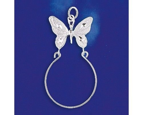 Sterling Silver Butterfly Charm Holder Pendant Solid 925 Silver - Silver Jewelry Accessories Key Chain Bracelet Necklace Pendants