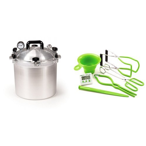 All American 921 21-1/2-Quart Pressure Cooker/Canner and Presto 09995 7 Function Canning Kit Bundle