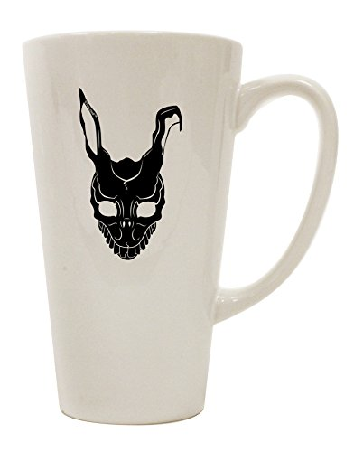 TooLoud Scary Bunny Face Black 16 Ounce Conical Latte Coffee (Donnie Darko Rabbit Costume For Sale)
