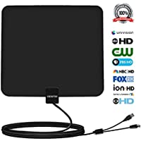 Viewtek Amplified HDTV 50mile Range Digital TV A-nten-na 13Ft Copper Coaxial Cable for Digital tv /Analog TV with USB Power Supply,4K ready