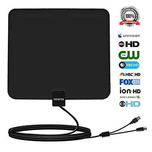 Viewtek Amplified HDTV 50mile Range Digital TV Antenna 13Ft Copper Coaxial Cable for Digital tv /Analog TV with USB Power Supply,4K ready
