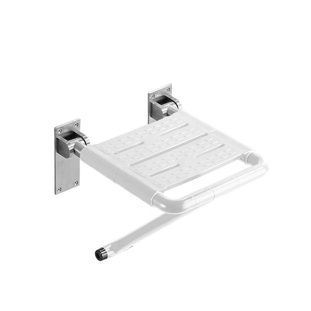 BEAUTY--shower stool Bathroom Elderly Folding Wall Stool Shower Room Widening Security/Anti-Skid, 2 Colors to Choose from (Color : White)