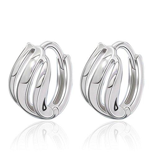 Ellegant 925 Sterling Silver Threaded Hoop Earrings for Women,Hypoallergenic Silver Earrings