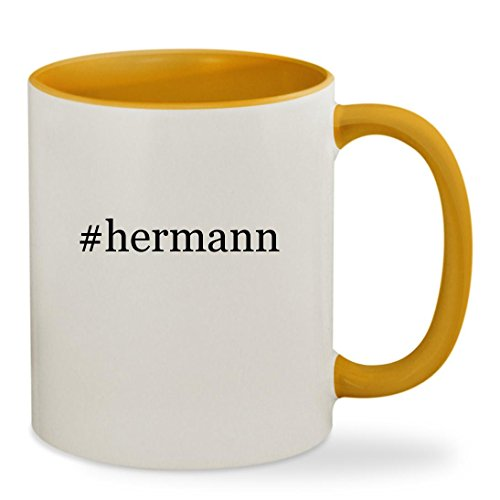 Price comparison product image #hermann - 11oz Hashtag Colored Inside & Handle Sturdy Ceramic Coffee Cup Mug, Golden Yellow
