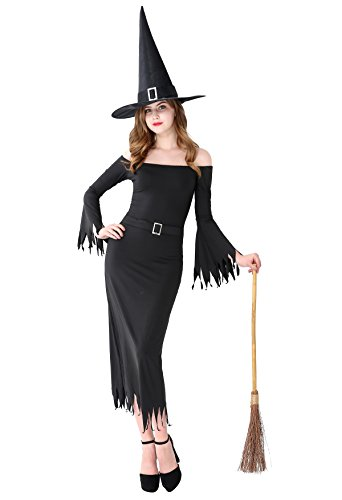 Maleficent Plus Size Costumes (Witch Costume Adult Women Halloween Black Spooky Long Dress With Hat - X Large)