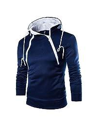 Men's Hoodie, Oblique Zipper Hip Hop Hooded Sweatshirt Pullover Tops