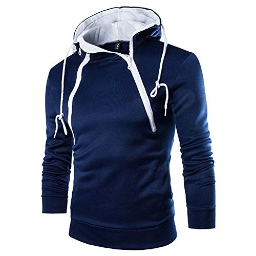 POQOQ T Shirts Men Highlands Full Zip Hoody Deals Fashion Tops for Men Hipster Hip Hop Hoodie Side Zipper L Navy -