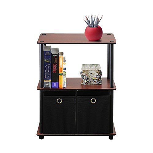 MIK Bookcase with 2 Fabric Bins - Bookcase with 2 Shelves - Dark Cherry/Black