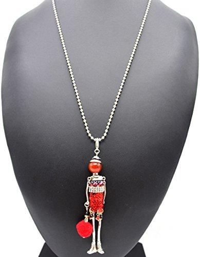 SP636 - Sautoir Collier Pendentif Poupée Articulée Femme Robe Ruban, Strass et Sequins avec Pompon Rouge