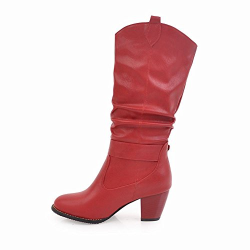 Womens Boots Western Mid Riding Heel Foot Charm Buckle Red Calf High Chunky vq5n0RE
