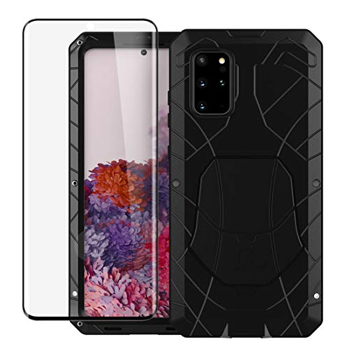for Galaxy S20 Plus Case + Glass Screen Protector 360 Protection Tough Metal Armor Robust Heavy Duty Outdoor Shockproof Rugged Cover for Samsung Galaxy S20 Plus (Black)