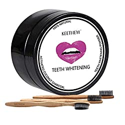Charcoal Teeth Whitening Powder,Activated Charcoal Natural Teeth Whitener Teeth Whitening Charcoal Powder with 3pcs Bamboo Brushes