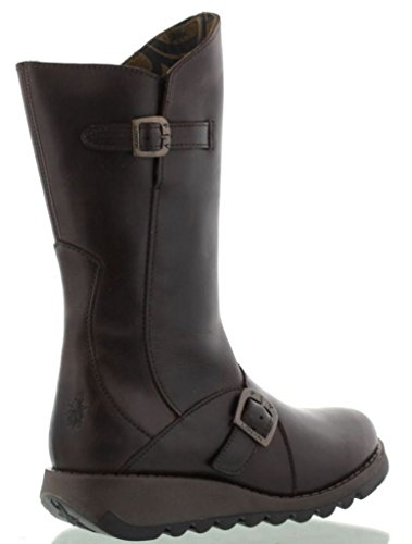 Boots Fly Leather Mes Dark Calf Brown Mid 2 Womens London xaxq0rt