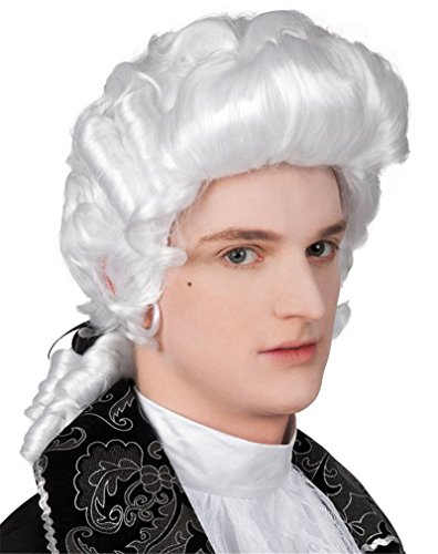 Ibeauti Historical Costume Party Wig Curly Cosplay George Washington Wig for Men - Dusty Male Model