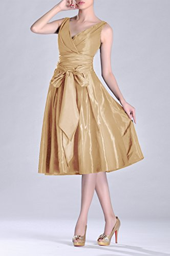 Bridesmaid Length A line bridesmaids Tea Pleated Modest Dress neck V Taffeta champagnerfarben Formal qFvzHwZ