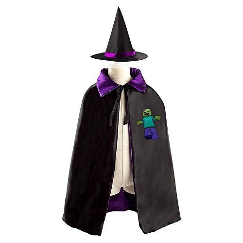Minecraft Zombie Halloween Wizard Witch Kids Cape With Hat Party Christmas Costume (Minecraft Spider Costume)