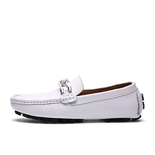 Heren Klassieke Casual Loafers - Mocassins Met Zachte Slip Op Schoenen 9088 Wit