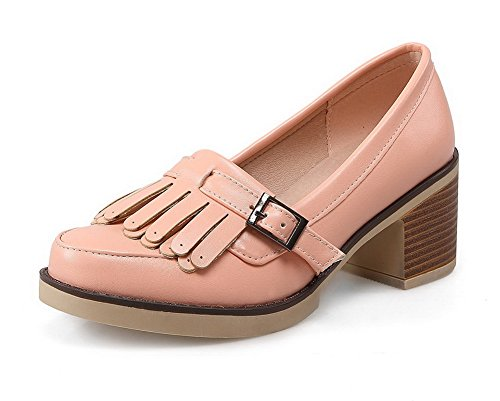 VogueZone009 Women's Round Closed Toe Kitten-Heels Soft Material Solid Buckle Pumps-Shoes Pink