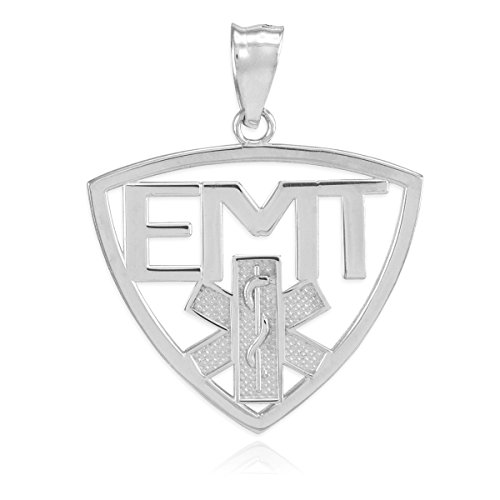 10 ct 471/1000 Or Blanc EMT Technicien Medical d'urgence Pendentif
