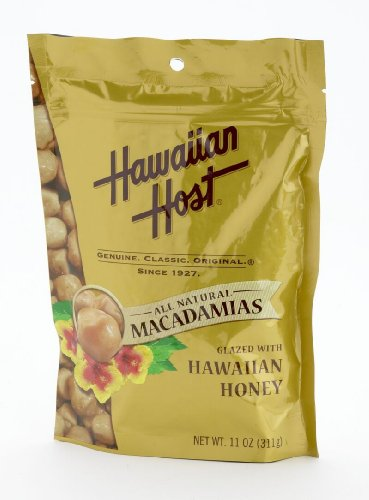 Hawaiian Host MACADAMIA NUTS - Hawaiian Honey Glazed Macadamias, LARGE 11 oz (Resealable Bag)